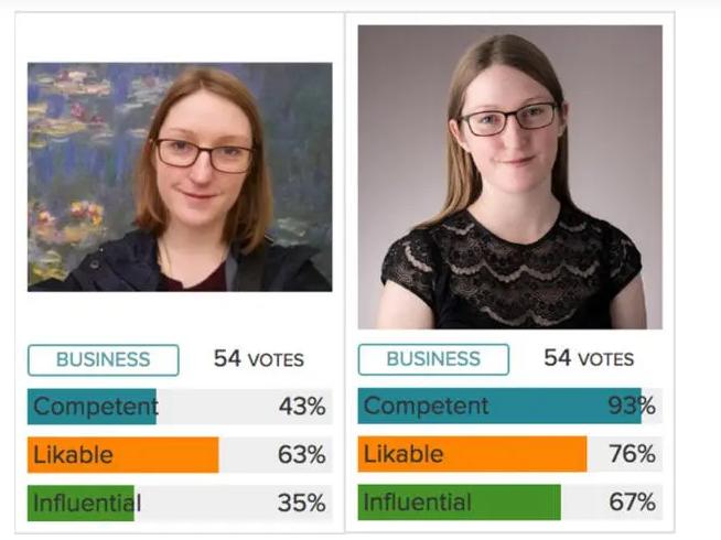 Photo Feeler screenshot of a professional headshot comparison